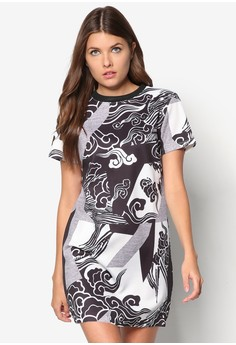 Grpahic Print Asymmetrical Hem Dress