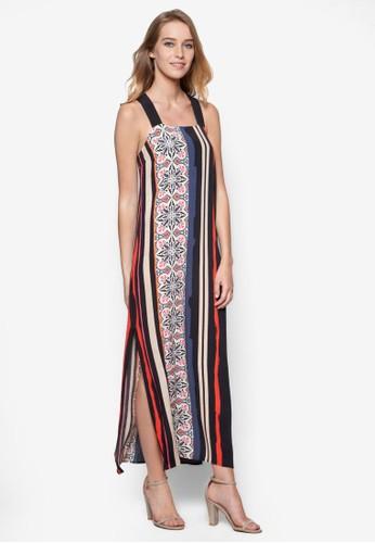 瓷磚條紋交叉帶長洋裝,zalora 台灣門市 服飾, 長洋裝
