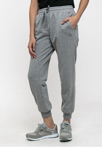 FOREST grey Forest Ladies Plain Elastic Cotton Terry Jogger Pant - 810441 - 21Mel Grey F6E8EAAAC89BA1GS_1