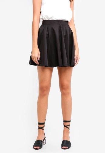 Something Borrowed black Panelled Skater Skirt BA990AA1BF70B9GS_1