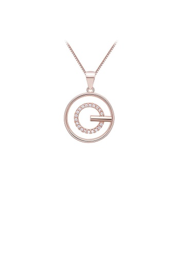 Glamorousky white Fashion 925 Rose Golden Plated Pendant with White Austrian Element Crystal and Necklace 02810ACBFDB82FGS_1