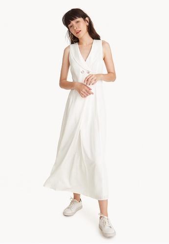 Pomelo white Premium Tencel Maxi Sailor Collar Dress - White 2B0E9AA2C73844GS_1