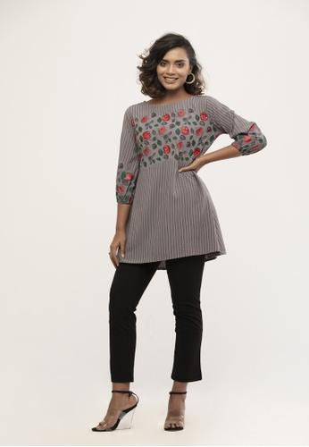 Le Reve grey Le Reve Grey Stripe & Floral Top with Sequin 9AC10AA08A9550GS_1