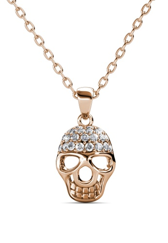 Her Jewellery silver Skull Pendant (Rose Gold) - Made with premium grade crystals from Austria HE210AC0FI4LSG_1