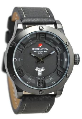 Reddington Jam Tangan Pria Hitam Abu Leather Strap R3035M