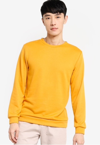 ZALORA BASICS yellow Sweatshirt with Zip Detail FF8C5AA54BDFC4GS_1