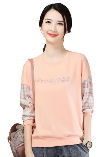 A-IN GIRLS pink Wild Check Round Neck Sweatshirt T-Shirt 94D44AA512EC44GS_1