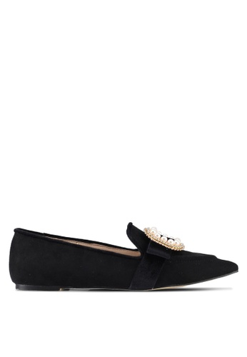 ZALORA black Bejeweled Buckle Loafers 2E25CSHEF6831CGS_1