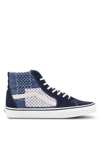 VANS blue and multi SK8-Hi Patchwork Sneakers VA142SH0SWWDMY_1