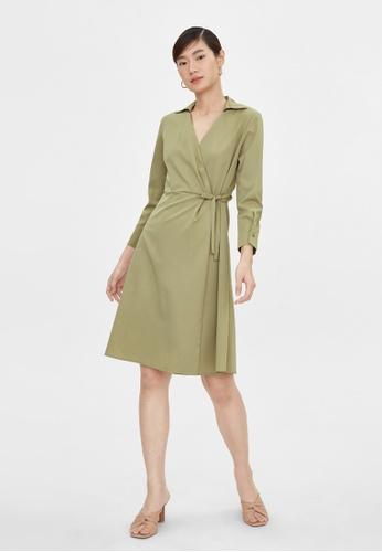 Pomelo green Side Wrap A Line Dress - Green B760BAAD7EAFCFGS_1