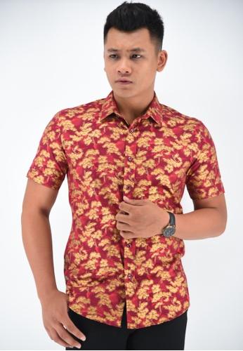 UA BOUTIQUE red Short Sleeve Shirt Batik UASSB46-031 (Maroon) 9A44CAA29A9FEDGS_1