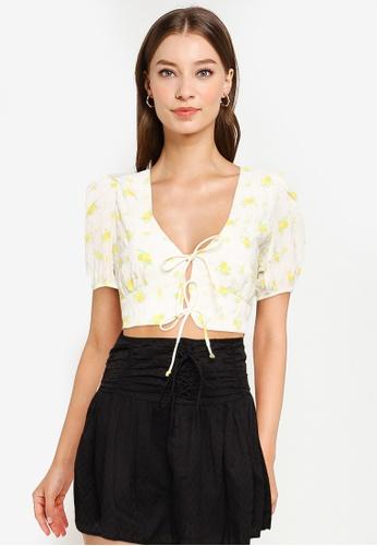 Cotton On white Sunshine Short Sleeve Tie Up Top 01136AA7FCA547GS_1