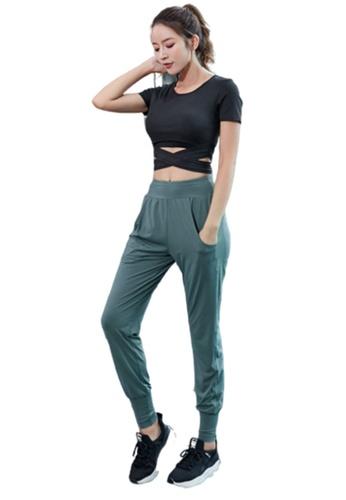 B-Code black ZYG3106a-Lady Quick Drying Running Fitness Yoga Sports Bra, Top and Leggings Three Pieces Set -Black 171EDUSD1A56F2GS_1