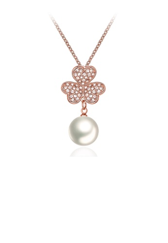 Glamorousky white Elegant Plated Rose Gold Three-leafed Clover Pearl Pendant with Austrian Element Crystal and Necklace A94E1AC6878AA2GS_1
