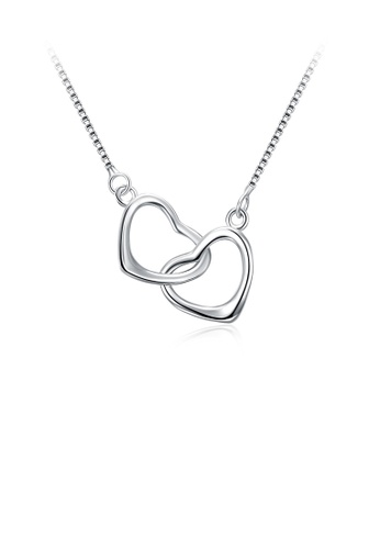 Glamorousky silver 925 Sterling Silver Sweet Double Heart Necklace A4252AC8954F30GS_1