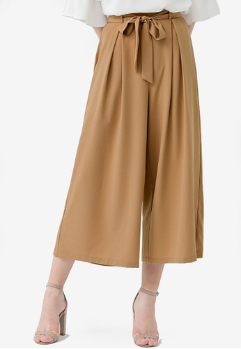 Kodz brown High Waist Flowy Pants 213A1AA97F0143GS_1