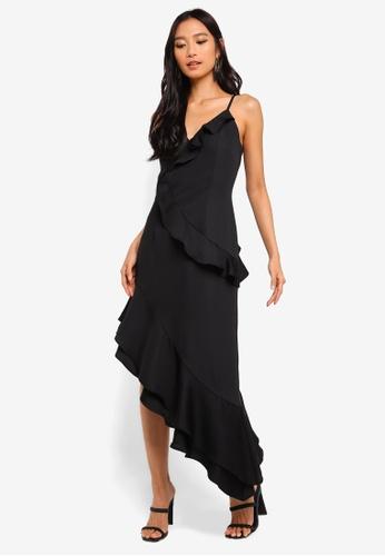 Preen & Proper black Asymmetrical Ruffle Cami Dress 19935AA4463B86GS_1