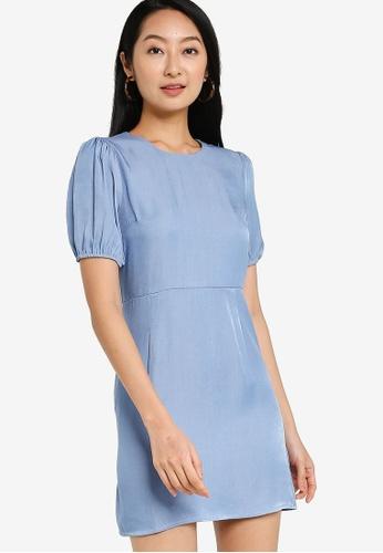 ZALORA BASICS blue Chambray Puff Sleeves Sheath Dress BAEC9AADF5A353GS_1