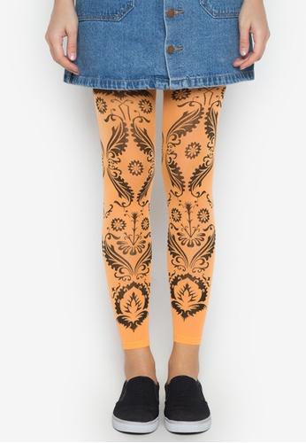 Leg Love orange 40D Printed Leggings LE656AA0JKGDPH_1