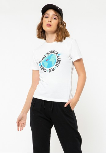 COLORBOX white Mother Earth Round Neck T-Shirt 7FC48AAF733C25GS_1