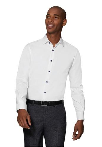 T.M. LEWIN white T.M.Lewin White Single Cuff Shirt with Retro Catseye Print Trim 713D4AA32CEC09GS_1