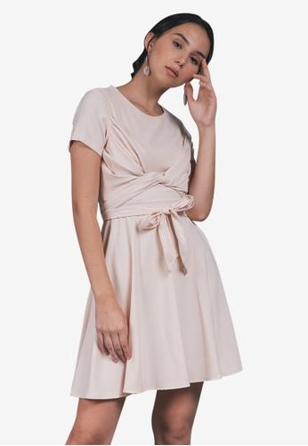 Caoros beige Double Tie Wrap Dress C90CFAA72A8958GS_1