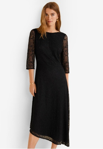 Mango black Asymmetric Lace Dress E54ADAA7DC3B1BGS_1