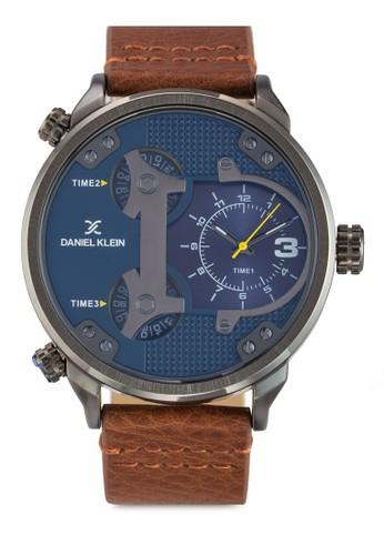 50mzalora 男鞋 評價m DK11131-2 三時間顯示皮革錶帶不銹鋼圓錶, 錶類, 飾品配件