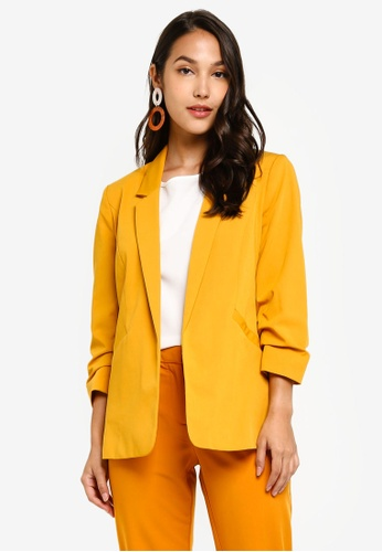 Dorothy Perkins orange Yellow Ruched Sleeve Jacket 26838AA9433726GS_1