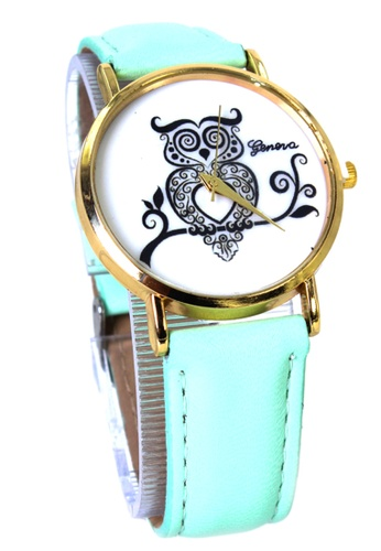World of Watches blue Geneva Owl Women's Mint Green Leather Strap Watch WO566AC65MHUPH_1