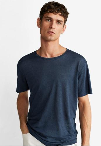 Mango Man blue Linen T-Shirt 8A76CAAFF6F5F4GS_1