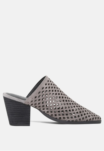 RAG & CO grey Stacked Heel Laser-Cut Mules 752AFSH6E3E16BGS_1