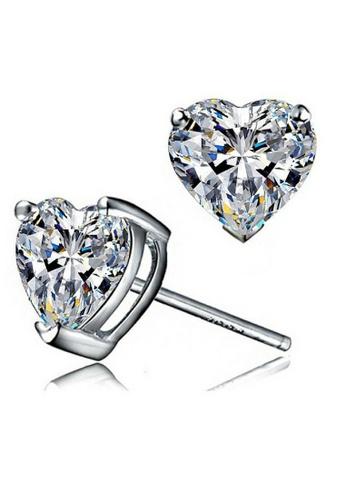 Vivere Rosse silver My Heart Stud Earrings - 18K White Gold Plated VI014AC05ZVIMY_1