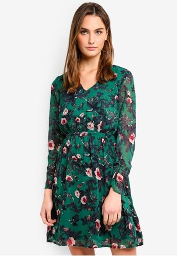 Vero Moda green Karen V-neck Dress 146E2AAA39D423GS_1