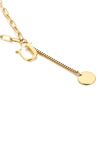 Glamorousky silver Simple and Fashion Plated Gold English Alphabet U Tassel 316L Stainless Steel Pendant with Necklace ED01AAC21F68CFGS_1