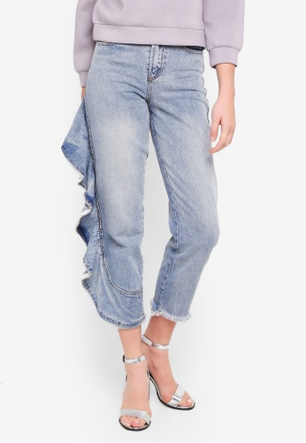 LOST INK blue High Waist Straight With Side Jeans B1E20AAD680CD0GS_1