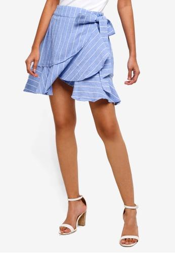 WAREHOUSE blue Int Frill Hem Skirt 85969AAA97793BGS_1