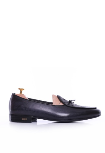 Zeve Shoes black Zeve Shoes Belgian Loafer - Black Grey Snake Skin With Ribbon (Hand Painted Patina) 96AFCSH645E105GS_1