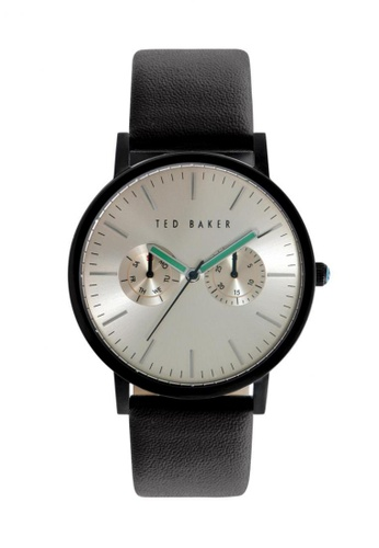 TED BAKER black and silver Ted Baker Silver/Black Multifunction Leather Watch TE856AC53CTASG_1