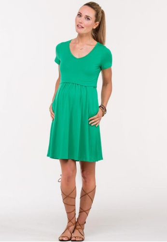 Bove by Spring Maternity green Knitted Short Sleeved Betsy V Neck Dress LDN1902 SP010AA76SADSG_1