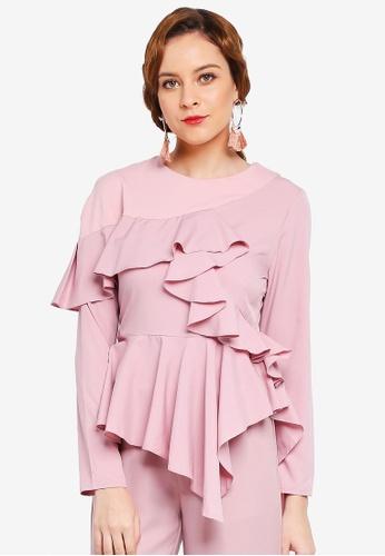 Lubna pink Asymmetrical Top C15B0AA053BBEAGS_1