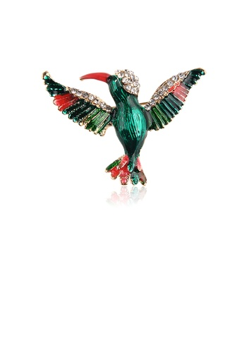 Glamorousky white Fashion and Elegant Plated Gold Enamel Green Hummingbird Brooch with Cubic Zirconia 5FEB5ACCEB1EE0GS_1