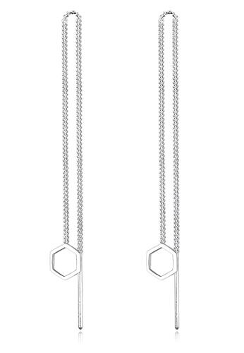ELLI GERMANY silver Elli Germany Hexagon Geo Minimalist 925 Silver Earrings EL474AC0S1ZTMY_1