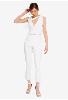 2c131be3 Lavish Alice white Drape Layer Tapered Jumpsuit 7B6A0AA290132CGS_1