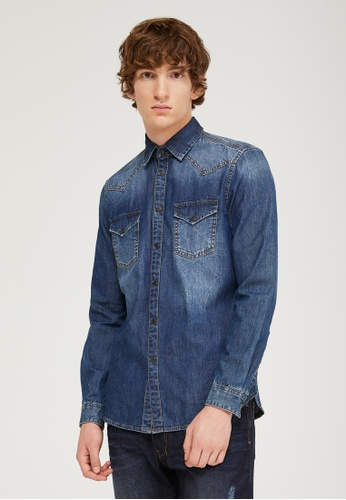 Sisley blue Denim Shirt F0E36AAB481B65GS_1