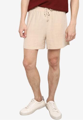ZALORA BASICS beige Drawstring Linen shorts E301AAA9D20055GS_1
