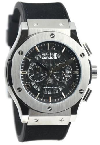 Condotti CN1023-S03-P03 Jam Tangan Pria Leather Strap - Hitam Silver
