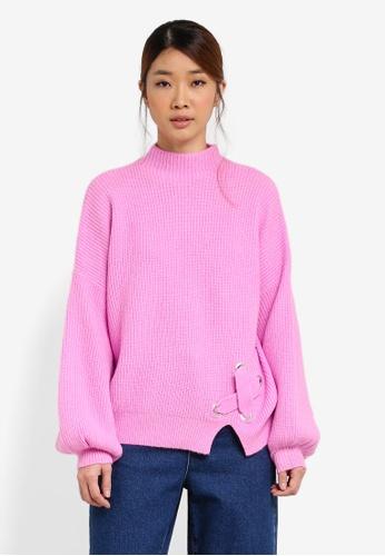 Miss Selfridge pink Eyelet Detail Knitted Jumper MI665AA0SHUYMY_1
