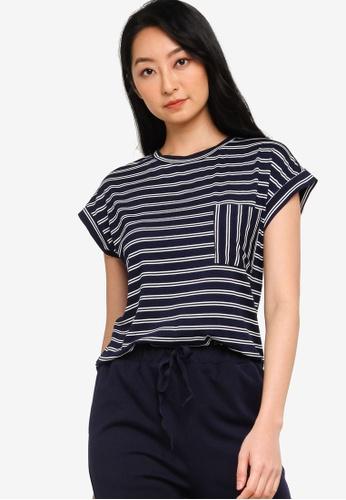 ZALORA BASICS navy Lounge Pocket Stripe T-Shirt 43B67AA8FD4FC0GS_1