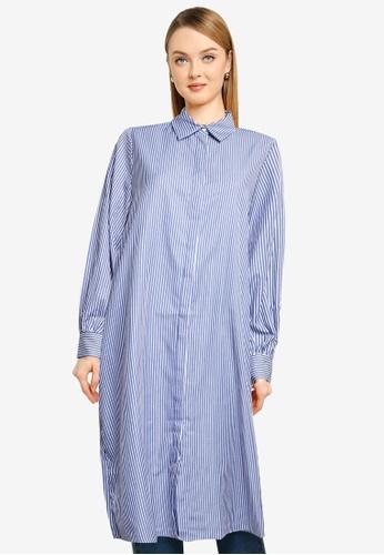 LC Waikiki 藍色 Striped Loose Fit Tunic Top E8A8BAABB54DE5GS_1